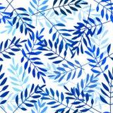 与靛蓝色叶子的传染媒介无缝的样式 库存照片