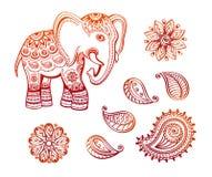 与非洲部族装饰品莲花和佩兹利集合的印地安种族大象 库存照片