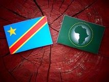 与非盟旗子的刚果民主共和国旗子 免版税库存图片