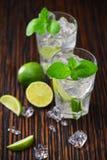 与非酒精mojito鸡尾酒的两块玻璃服务与林 免版税库存照片