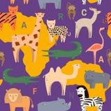 与非洲动物的无缝的样式在平的几何样式 也corel凹道例证向量 向量例证