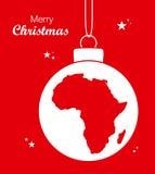 与非洲的地图的圣诞快乐题材 向量例证