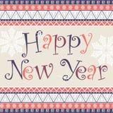 与非洲装饰品设计的新年快乐卡片 库存图片