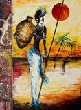非洲题材绘画细节  免版税库存图片
