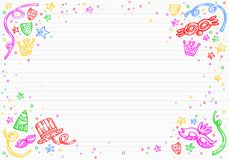 与面具、五彩纸屑和星乱画的白色狂欢节背景在上面 免版税库存图片