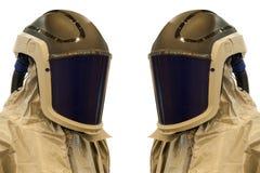 与面具的防护套服 免版税库存照片