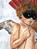 与面具的飞过的天使 免版税库存图片