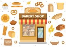 与面包工厂建筑物,卷,大面包,蛋糕,百吉卷的面包店集合象 免版税库存照片