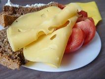 与面包片的快餐乳酪和蕃茄 图库摄影