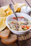 与面团和菜的汤 免版税库存图片