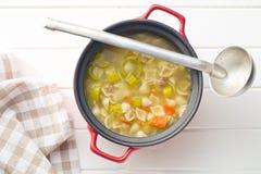 与面团的蔬菜汤 免版税库存图片