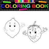 与面孔彩图的柠檬与和草莓 免版税库存图片
