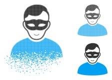 与面孔的被分解的Pixelated半音匿名人象 库存例证