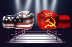 与面对其中每一的爱尔兰和俄国旗子印刷品的拳击手套  库存例证