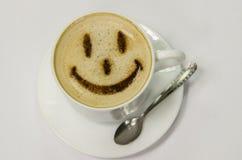 与面带笑容的咖啡 库存图片