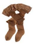 与鞋带弹性的米黄长袜 免版税库存照片