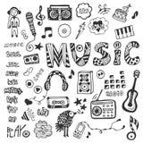 与音乐乱画的手拉的收藏 被设置的音乐图标 也corel凹道例证向量 免版税库存图片