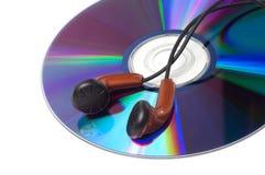 与音乐和耳机的CD 库存图片