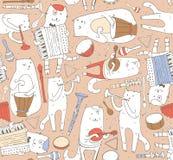 与音乐家猫和乐器的无缝的样式在淡色 猫在鼓,手风琴,管,吉他使用 Vec 免版税库存照片