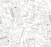 与音乐家猫和乐器的无缝的样式 库存照片