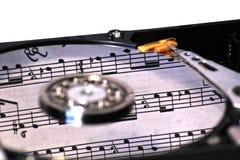 与音乐的硬盘驱动器 免版税库存照片