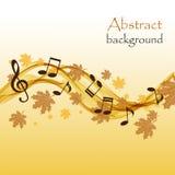 与音乐笔记和高音谱号的抽象秋天背景 库存例证