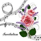与音乐笔记的桃红色玫瑰 免版税库存照片