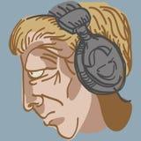 与音乐耳机的人的题头 免版税图库摄影