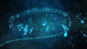 与音符的生气蓬勃的背景,音乐注意流动 库存例证