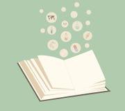 与页的传染媒介开放书在绿色背景 教育向量图形 免版税图库摄影