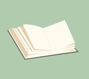 与页的传染媒介开放书在绿色背景 免版税图库摄影