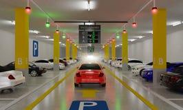 与顶上的显示的聪明的停车场引导系统,聪明的传感器协助控制/显示器,高效率的管理,3D 库存例证
