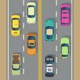 与顶视图汽车和卡车街道传染媒介的高速公路交通 库存例证