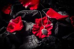 与项链的银色心脏形状小盒在黑木炭textu 库存照片