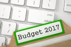 与预算的索引卡片2017年 3d 图库摄影