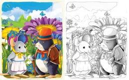 与预览-艺术风格的剪影着色页-孩子的例证 免版税库存图片