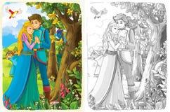 与预览-艺术风格的剪影着色页-孩子的例证 库存照片