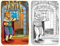与预览-艺术风格的剪影着色页-孩子的例证 免版税库存照片