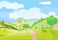 与领域和小山的绿色风景 可爱的农村自然 库存照片