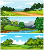 与领域和树的三个自然场面 免版税库存照片