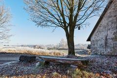 与领域鸟舍和树的空的coutryside长凳 免版税库存照片