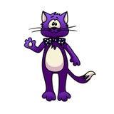 与领带的紫色动画片猫 库存照片