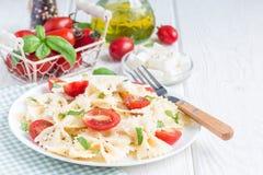 与领带面团、希腊白软干酪、蕃茄、芥末和蓬蒿,拷贝空间的意大利面制色拉,水平 图库摄影