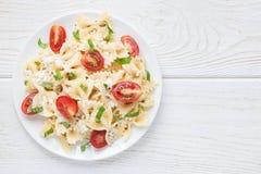 与领带面团、希腊白软干酪、西红柿、芥末和蓬蒿,顶视图,拷贝空间的意大利面制色拉 免版税库存图片