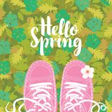 与题字和桃红色鞋子的春天横幅 免版税库存图片