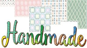 与题字手工的卡片在杂色的背景和s 免版税库存图片