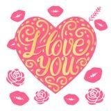 与题字的传染媒介桃红色心脏我爱你 卷毛和题字字法 向量例证