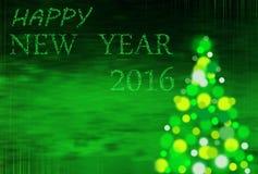 与题字的绿色圣诞节背景2016年 免版税库存照片
