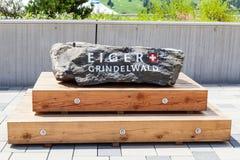 与题字,艾格峰,格林德瓦的石头 库存图片