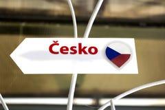 与题字`捷克`的一个标志在捷克 库存照片